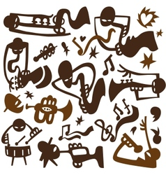 Jazz musicians play on tubes vector image