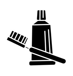 teeth brush tooth paste icon vector image