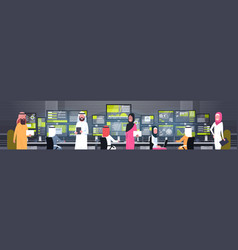 global online trading concept arab people group vector image