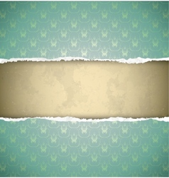 Green ornamental vintage wallpaper torn as a frame vector image