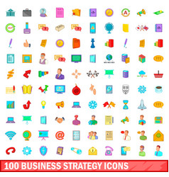 100 business strategy icons set cartoon style vector