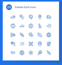 25 earth icons vector image