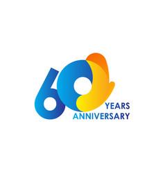 60 years anniversary celebration blue yellow vector