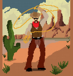a cowboy with a hat in wild west swings a lass vector image