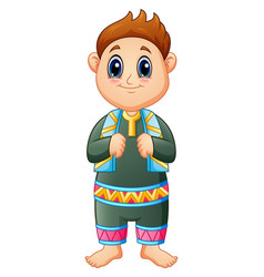 a cute muslim kid standing with scarf in his neck vector image