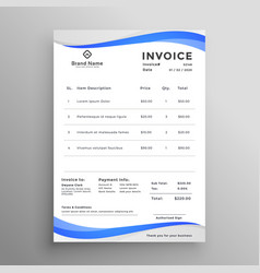 Abstract blue wavy style invoice template vector