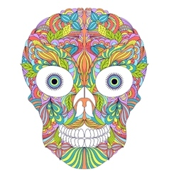 Abstract floral skull on white background vector