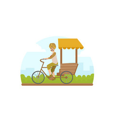 asian tricycle rickshaw cab traditional indian vector image