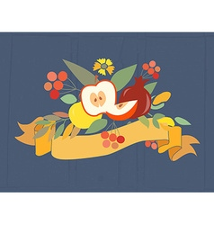 Autumn floral bundles with fruits vector