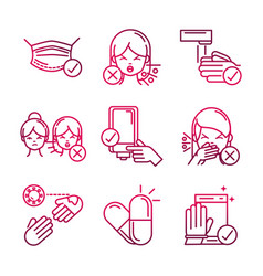 Avoid and prevent spread covid19 icons gradient vector