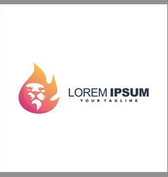 Awesome flame lion logo design vector