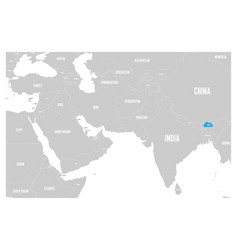 Bhutan blue marked in political map of south asia vector