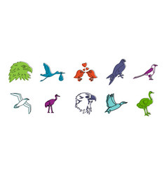 birds icon set color outline style vector image