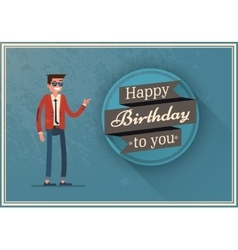 Birthday card with a happy man vector
