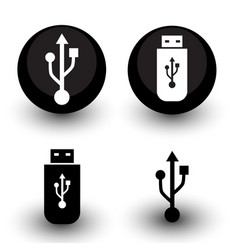 black and white usb sign and flash drive icon set vector image