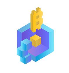 blockchain concept isometric blockchain bitcoin ba vector image