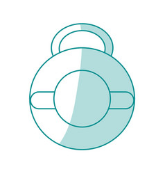 Blue silhouette shading kettlebell weights vector