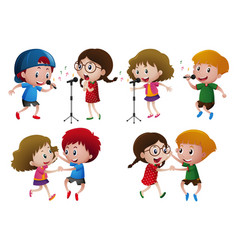 boys and girls singing and dancing vector image