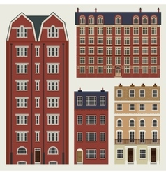 Buildings set with english classic terrace houses vector image