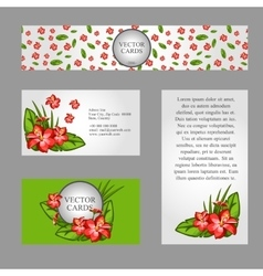Cards with the texture of lilies and sample text vector