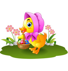 Cartoon baby duck carrying decorated egg vector