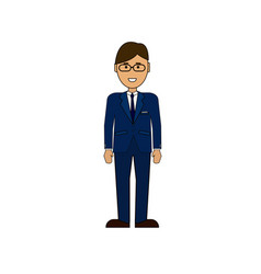 cartoon business man wearing suit stand isolated vector image