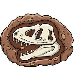 cartoon head dinosaur fossil vector image
