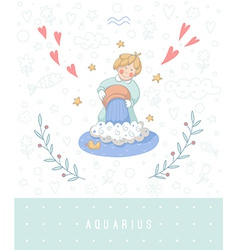 Cartoon of the water-bearer aquarius vector