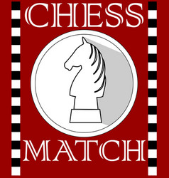 Chess match flyer with knight piece in circle vector