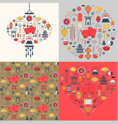 Chinese new year cards set vector