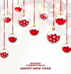 Christmas Red Glassy Balls on Shimmering Light vector image