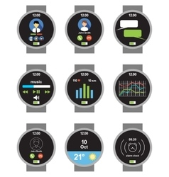 Circle smartwatch applications on screen vector