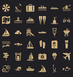 clean water icons set simple style vector image