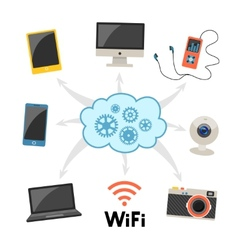Cloud computing and networking infographics vector