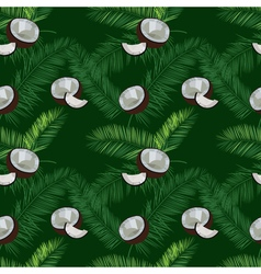 Coconut palm leaves seamless pattern on green vector image