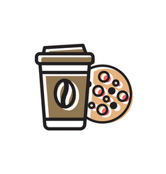 Coffee drink and cookie vector
