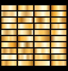 collection golden metallic gradient brilliant vector image