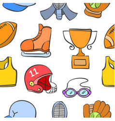 collection of sport object doodle style vector image