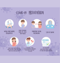 Covid 19 pandemic prevention avoid and protect vector