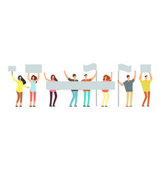crowd of protesting people with banners flags vector image