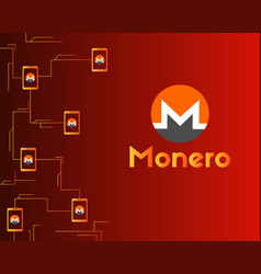 Cryptocurrency monero connected background vector