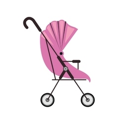 Cute baby carriage with pink soft top vector