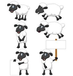Cute cartoon sheep collection set vector