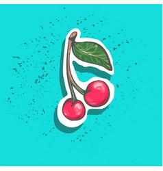 cute cherry with leaf sticker fashion patch badge vector image