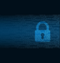 cyber technology security lock on digital screen vector image
