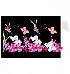 decorative bag with iris flowers vector image