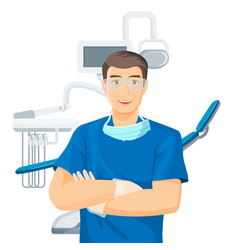 dentists chair doctor with smile on vector image