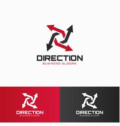 Direction - arrow logo template vector