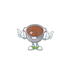 Dish baked beans with cartoon wink mascot vector