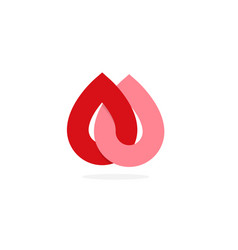 Donate blood symbol two blood drop abstract red vector